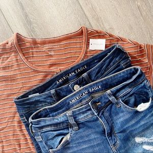 American Eagle jegging jeans and tee lot 8